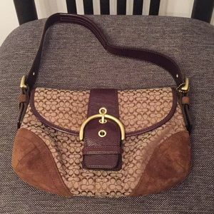 Coach Brown suede/fabric/leather purse